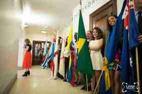 Students Posing With Flags