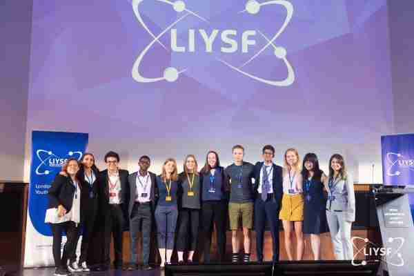 2019 LIYSF Famelab presenters at the Ojannte Theatre, Royal Geographical Society, London